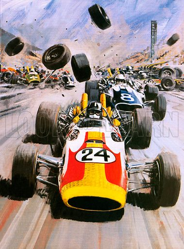 Graham Hill, winner of the Indianapolis 500 motor race, USA, 1966. Hill won the race in a Lola-Ford known as the American Red Ball Special. He narrowly escaped a massive pile-up at the starting line, which damaged 11 cars beyond repair.