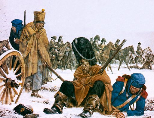Retreat of Napoleon's French Grande Armee from Moscow, Russia, Napoleonic Wars, 1812.