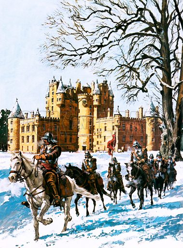 Glamis Castle occupied by the Roundheads.  During operations against the Royalist supporters of King Charles II and his Scottish allies, Glamis Castle was occupied by the Roundhead cavalry of Oliver Cromwell.