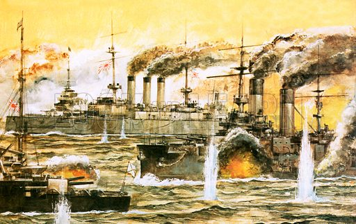 Rusian fleet destroyed 1905, picture, image, illustration