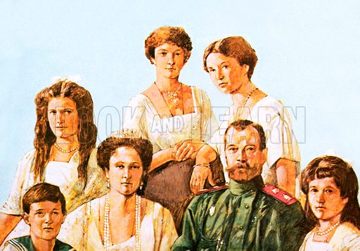 Tsar Nicholas II with this family.  Held under close arrest since August 1917, they were shot by the revolutionaries on 16 July 1918.  The bodies were burned, then thrown down a mine shaft.