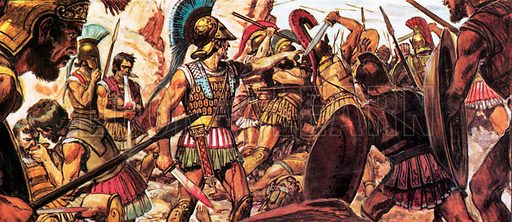 Battle of Thermopylae.  Time after time the Persian hordes were thrown back as they tried to storm the well-defended pass.  Could the Greeks hold Thermopylae until their full forces could be marshalled in defence?.