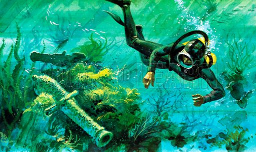 Salvage frogman, picture, image, illustration