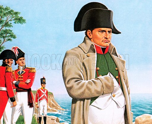 Napoleon gazing out at the ocean from St Helena, watched by the Governor, Sir Hudson Lowe, and his aide-de-camp, Gideon Gorrequer.