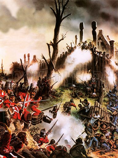 Storming of Maori fort.  In 1846, more than a third of a combined force were killed during the storming of the fort of a chief called Hone Heke.
