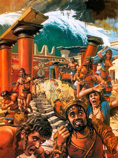 Tsunami devastating a city in Crete, 15th century BC