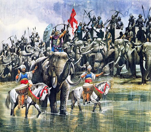 Army of King Porus facing Alexander the Great in torrential rain, Battle of the Hydaspes, India, 326 BC.