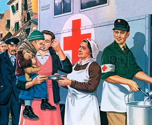 The International Red Cross was founded by Henri Dunant. Illustration by John Keay
