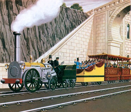 English railway engineer George Stephenson driving his locomotive Northumbrian at the opening of the Liverpool and Manchester Railway, 15 September 1830.
