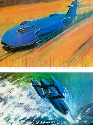Top: the famous car in which Donald Campbell became the fastest man on land. Bottom: Bluebird K7, the boat on which Campbell was killed on Coniston Water, Cumbria in 1967. Illustration by Graham Coton