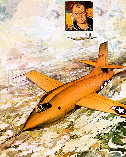 Chuck Yeager (inset) travelling faster than sound, the first man ever to do so.
