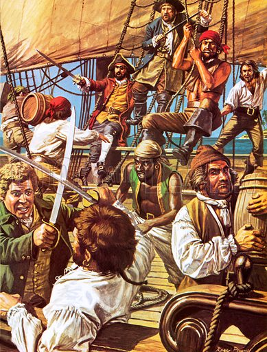Olivier Levasseur, French pirate, 18th Century. In a swashbuckling career of preying on heavily laden merchant vessels, Levasseur is said to have amassed a fortune of 90 million gold French francs, as well as other coins and jewels. In the end he was hunted down, captured and executed.