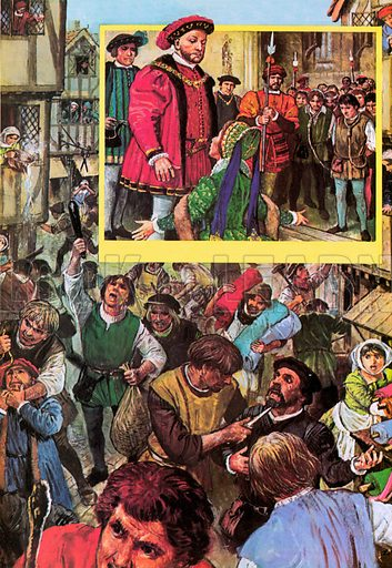 Riot of the apprentices in May 1517.  Inset: Catherine of Aragon begging king Henry VIII for mercy for the apprentices.