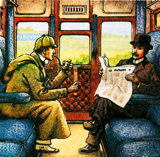 Sherlock Holmes and Watson travelling by train. NB: Scan of small illustration.