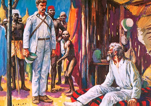 """""""Dr Livingstone, I presume"""" said Stanley (left) when at last he found the great explorer.  NB: Scan of small illustration."""