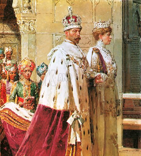 King George V in procession with Queen Mary during the 1911 Durbar