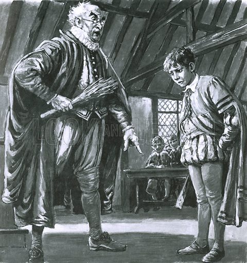 Shakespeare being disciplined as a boy