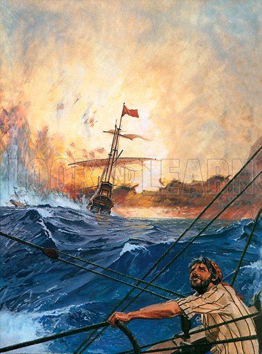 picture Vasco da Gama's ships round Cape Horn