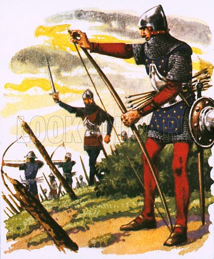 A archer of the time of the battle of Agincourt.  NB: Scan of small illustration.