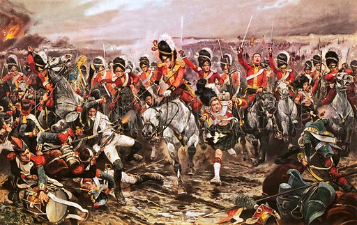 Charge of the Scots Greys at the Battle of Waterloo, Napoleonic Wars, 1815.