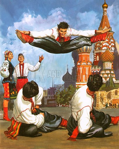 Dancers in Red Square, picture, image, illustration