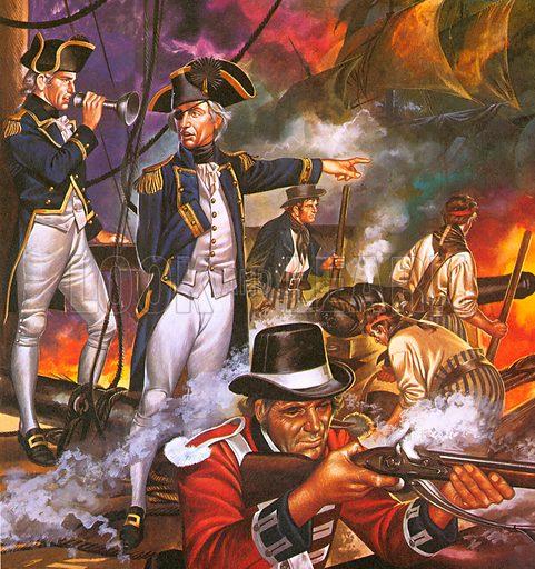 Nelson in the battle of Trafalgar.