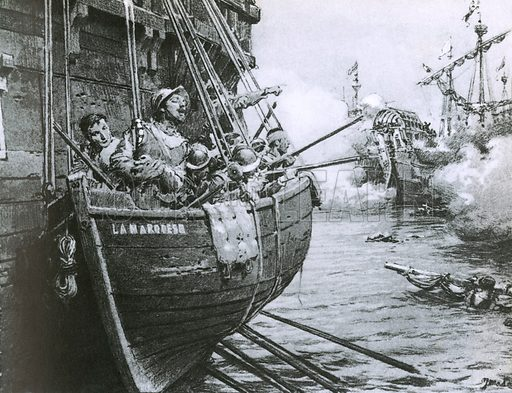 Miguel Cervantes, the soldier, shown here directing the fire from a boat hanging over the ship's side.