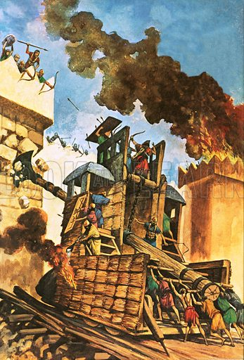 Assyrians attacking the walls of Babylon.