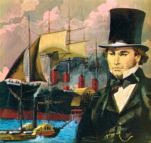 Brunel and the Great Eastern, picture, image, illustration