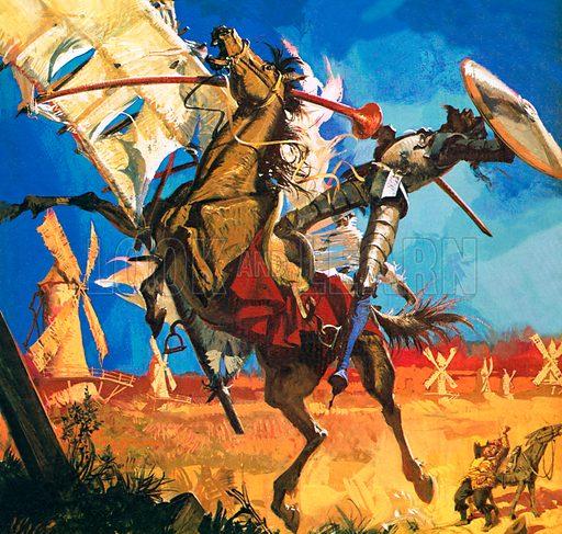 Don Quixote tilting at windmills, scene from Don Quixote, by Spanish novelist Miguel de Cervantes.
