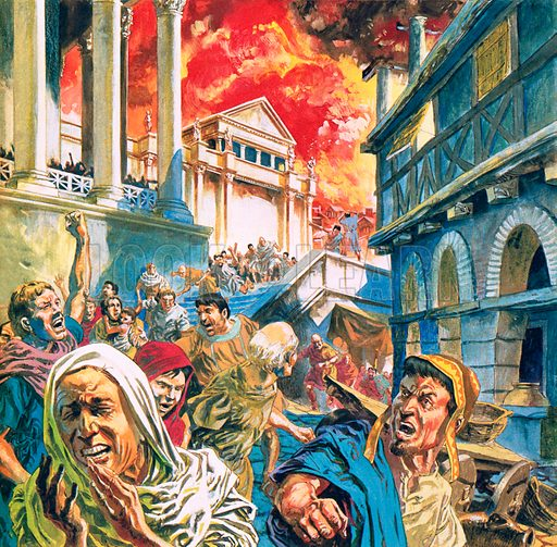 Great fire of Rome during the reign of the Emperor Nero, 69.