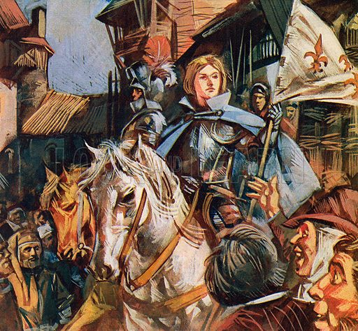 Joan or Arc on a white horse.  NB: Scan of small illustration.
