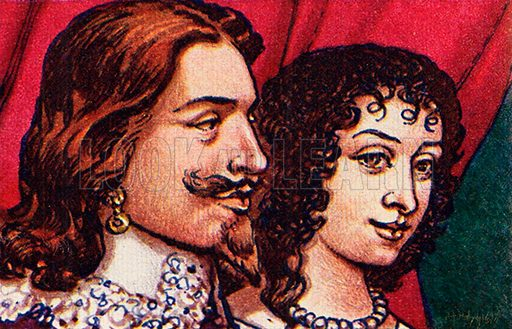 Charles I and Henrietta Maria, picture, image, illustration
