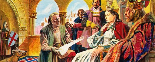 Columbus before Ferdinand and Isabella, picture, image, illustration
