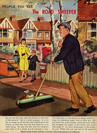 The Road Sweeper.  People You See, from Teddy Bear magazine, 1964.