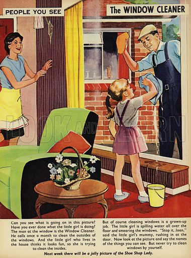 The Window Cleaner.  People You See, from Teddy Bear magazine, 1965.