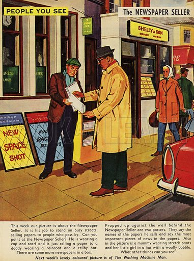 The Newspaper Seller. People You See, from Teddy Bear magazine, 1965.
