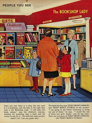 The Bookshop Lady. People You See, from Teddy Bear magazine, 1966.