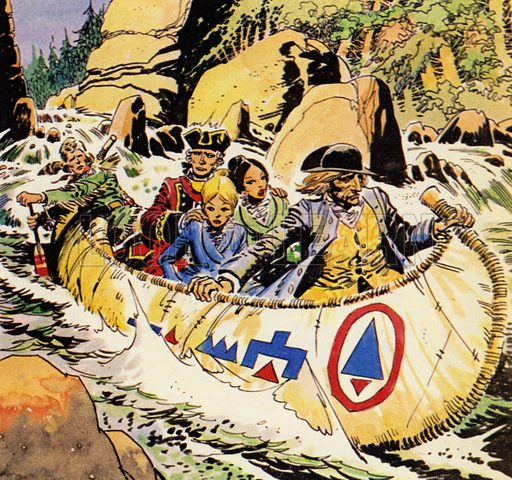 The Last of the Mohicans, based on the novel by James Fenimore Cooper. Hawkeye led the party to the river and skilfully guided them down river in a canoe. NB: Scan of small illustration.