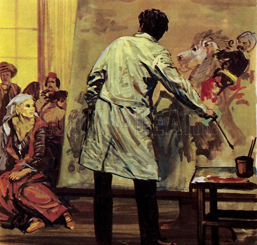 """Eugene Delacroix spent a year and a half painting """"The Massacre of Scio"""". It was sent to the Paris Salon. NB: Scan of small illustration."""