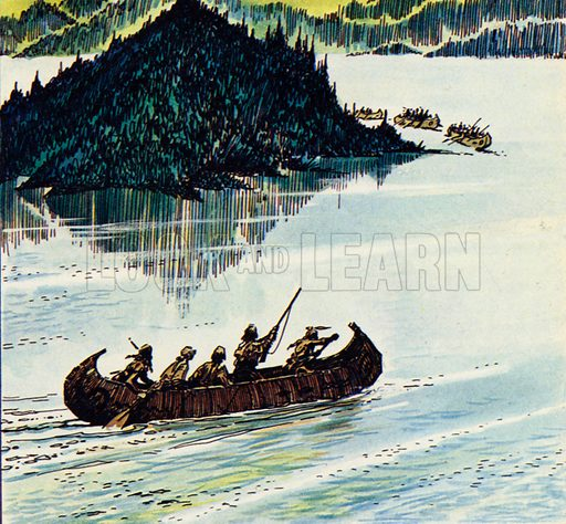 The Last of the Mohicans, based on the novel by James Fenimore Cooper. Heyward, Hawkeye, Munro and the two Mohicans find a canoe and make their way to the land of the Hurons. NB: Scan of small illustration.