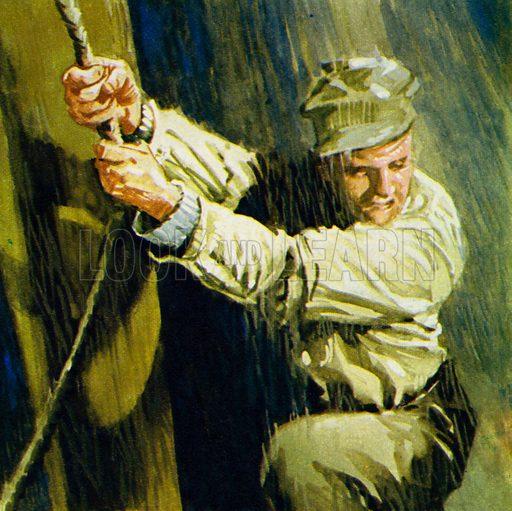 Joseph Conrad. Master Mariner and Storyteller. After more adventures at sea, Conrad sat down to write novels. NB: Scan of small illustration.