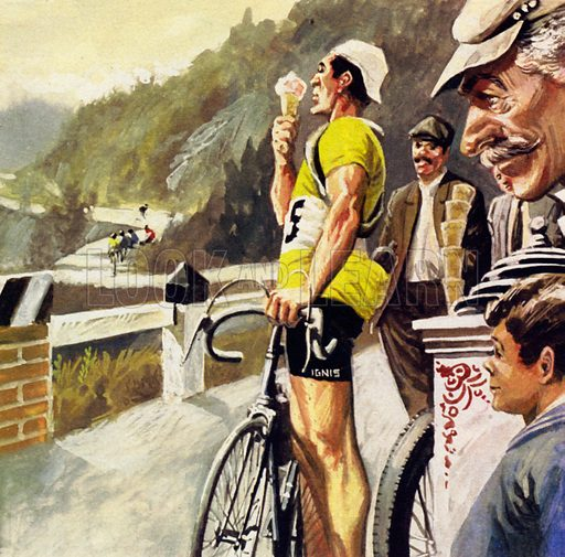Tour de France – Thrills and Spills on Wheels. Once, the Spanish cyclist Bahamontes stopped for an ice-cream. NB: Scan of small illustration.