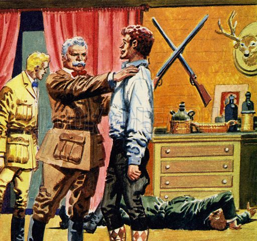 The Prisoner of Zenda by Anthony Hope. Sapt asked Rassendyll if he would impersonate the king at his coronation. NB: Scan of small illustration.