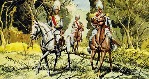 The Prisoner of Zenda by Anthony Hope. Dressed as a Marshal of Ruritania, Rassendyll rode to his coronation. NB: Scan of small illustration.