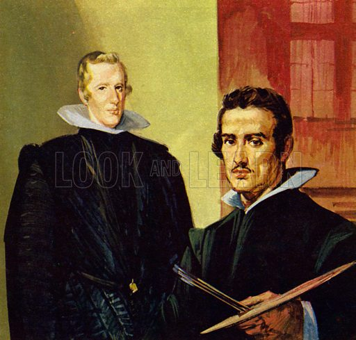 Velazquez: The King's Painter. Velazquez was commissioned to paint a portrait of King Philip IVNB.: Scan of small illustration.
