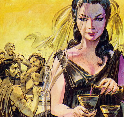 The Wanderings of Ulysses. Circe mixed a drug into the drinks she offered the sailers. NB: scan of small illustration.