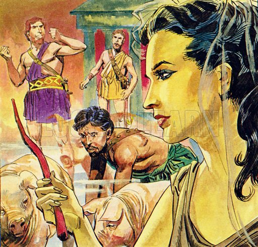 The Wanderings of Ulysses. Circe turned the ship's crew back into human form. NB: scan of small illustration.