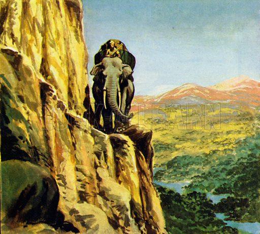 Bandoola – King of the Elephants. Bandoola led the other elephants along the narrow path. NB: scan of small illustration.