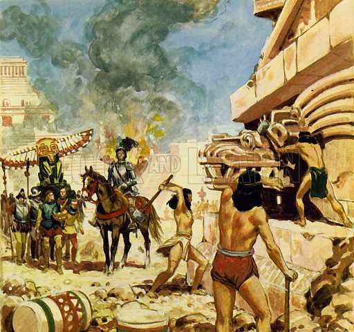 The Vanishing Gold of the Aztecs. To protect themselves from the defenders, the Spaniards destroyed the buildings as they took them. NB: scan of small illustration.